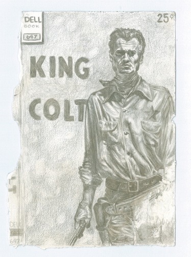 """SOLD """" King Colt"""" - Silverpoint on Paper 2.5x5 c.2015"""