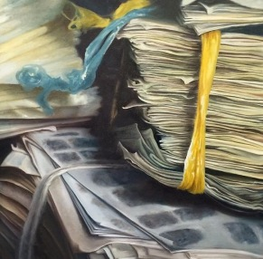 """immigration stacks"" - oil on canvas, 2014. 30x30. SOLD"